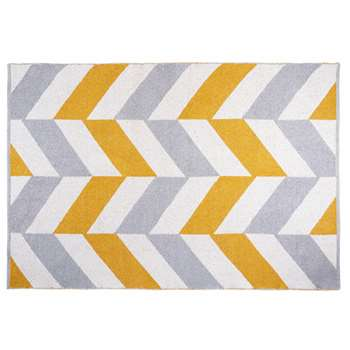 JOY Graphic Grey and Yellow Cotton Rug (120 x 180cm)