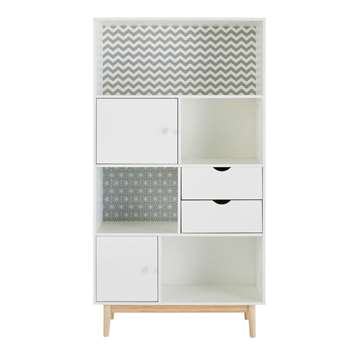 JOY Patterned White 2-Door 2-Drawer Bookcase (170 x 90cm)