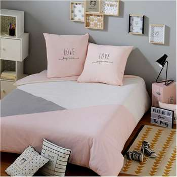 JOY Pink and Grey Cotton Bedspread (200 x 140cm)