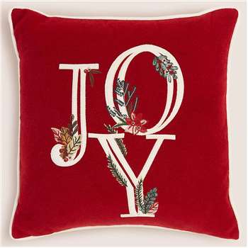 Joy Small Embroidered Christmas Cushion (H45 x W45 x D12cm)