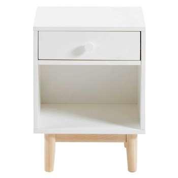JOY White 1-Drawer Bedside Table (52 x 38cm)