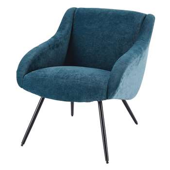 JOYCE Velvet Vintage and Metal Armchair in Blue (H76 x W67 x D75cm)