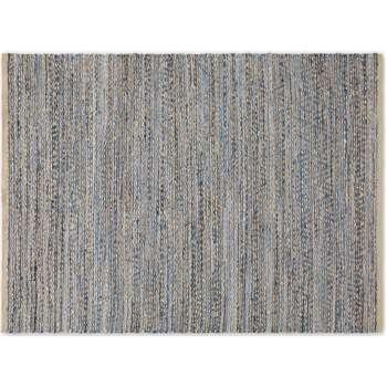 Jozua Jute & Denim Chindi Rug, Large, Indigo Blue (H160 x W230 x D2cm)