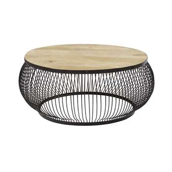 JUANA - Round Black Metal and Solid Mango Wood Coffee Table (H42 x W98 x D98cm)