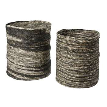 JUBBA 2 Woven Maize Baskets in Ecru and Black (H50 x W68 x D68cm)