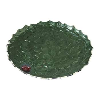 Julia Knight - Holly Sprig Round Platter - Emerald (33 x 33cm)