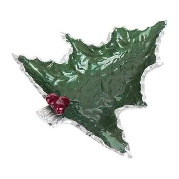 Julia Knight - Petite Holly Sprig Tree Bowl - Emerald (Width 15.8cm)