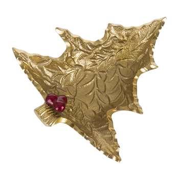 Julia Knight - Petite Holly Sprig Tree Bowl - Gold (Width 15.8cm)