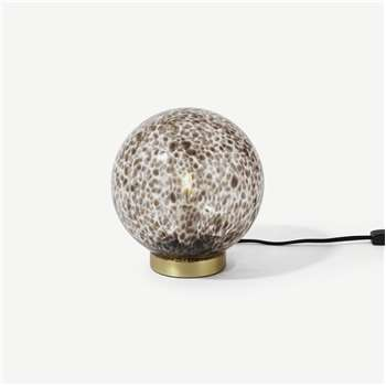 Julia Table Lamp, Tortoiseshell Glass & Brass (H22 x W20 x D20cm)