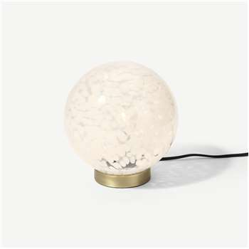 Julia Table Lamp, White Speckled Glass & Brass (H22 x W20 x D20cm)