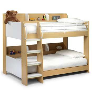 Julian Bowen - Domino Kids Bunk Bed with Shelf in White & Maple Finish (H161 x W137 x D199cm)