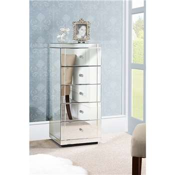 JULIANNA Mirrored Tallboy Chest with 5 Drawers and Plinth (104 x 44cm)