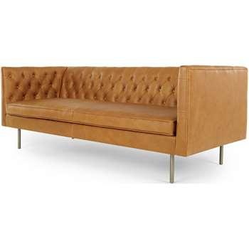 Julianne 3 Seater Sofa, Charm Tan Premium Leather (H201 x W76 x D88cm)