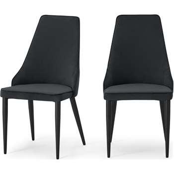 Julietta Set of 2 Dining Chairs, Lead Grey Velvet (H93 x W48 x D55cm)