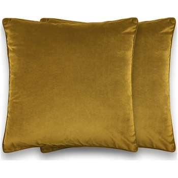 Julius Set of 2 Large Velvet Cushions, Antique Gold (H59 x W59cm)