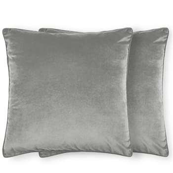 Julius Set of 2 Large Velvet Cushions, Silver Grey (H59 x W59cm)