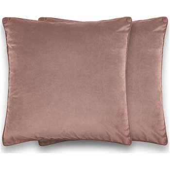 Julius Set of 2 Large Velvet Cushions, Soft Pink (H59 x W59cm)