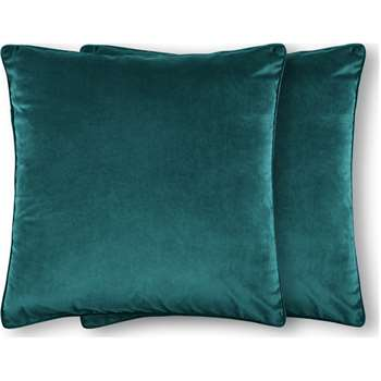 Julius Set of 2 Large Velvet Cushions, Teal Blue (H59 x W59cm)