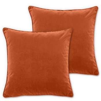 Julius Set of 2 Velvet Cushions, Burnt Orange (H45 x W45cm)