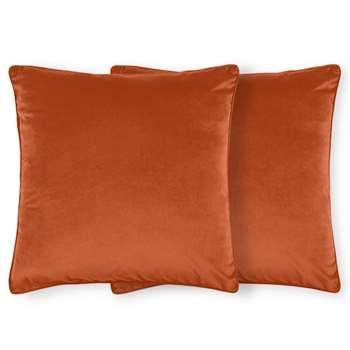 Julius Set of 2 Velvet Cushions, Burnt Orange (H59 x W59cm)