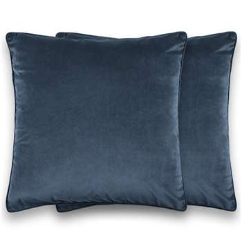 Julius Set of 2 Velvet Cushions, Ink Blue (H45 x W45cm)