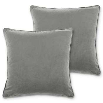 Julius Set of 2 Velvet Cushions, Silver Grey (H45 x W45cm)