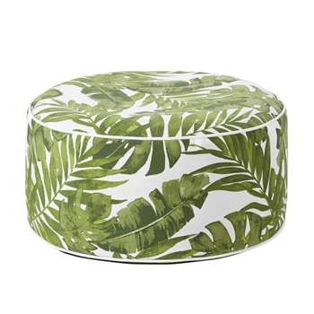 JUNGALA White Inflatable Outdoor Pouffe with Plant Print (H23 x W53 x D53cm)