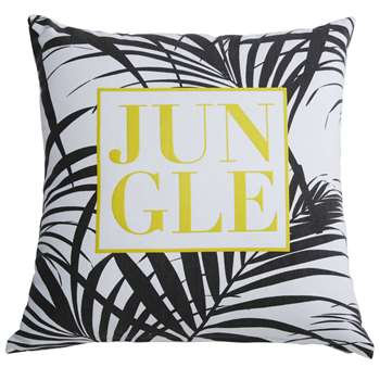 JUNGLE white cotton cushion with black and yellow print (45 x 45cm)