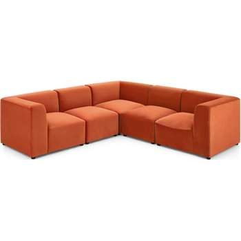 Juno 5 Seater Corner Sofa, Flame Orange Velvet (H65 x W232 x D232cm)