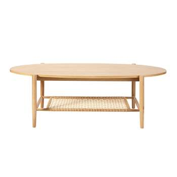JUNO - Woven Rope Oval Coffee Table with Two Surfaces (H46 x W140 x D60cm)