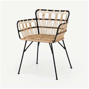 Jurupa Dining Chair, Natural Cane & Black (H78 x W60 x D55cm)