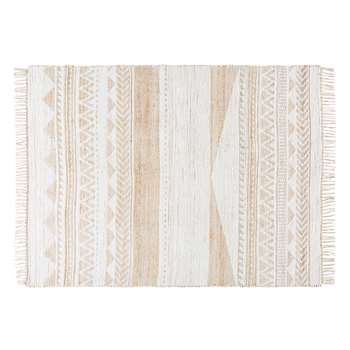 Jute and Cotton Rug with Graphic Motifs (H140 x W200cm)