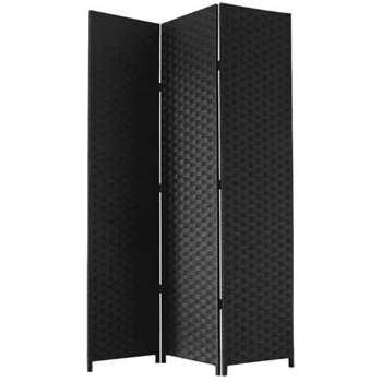 JVL Black Folding Woven Paper Screen (H172 x W120 x D2cm)
