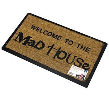 JVL PVC Backed Novelty Coir Mad House Entrance Door Mat (33 x 60cm)