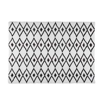 JYAM white fabric rug with graphic black motifs (160 x 230cm)