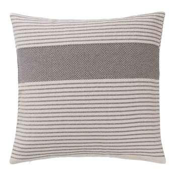 Kadan Cushion Cover, Black With Cream Stripes (50 x 50cm)
