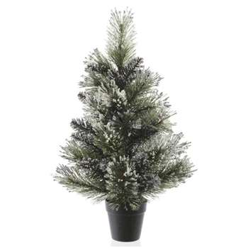 Kaemingk - 2ft Green Frosted Finley Christmas Tree (H60 x W36 x D36cm)