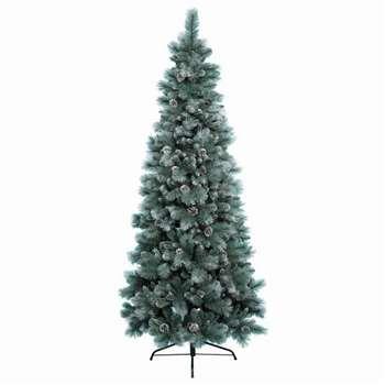 Kaemingk - 5ft Green Frosted Norwich Pine Christmas Tree (H150 x W78cm)