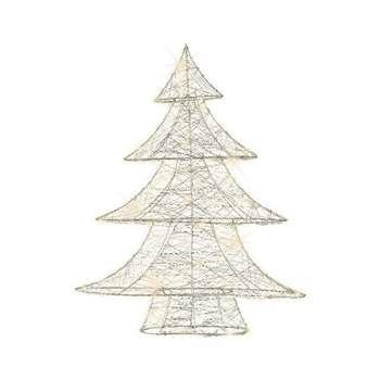 Kaemingk - Silver Christmas LED Tree Decoration (H60 x W48 x D11cm)