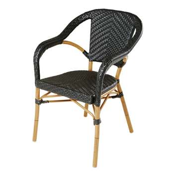 KAFE PRO - Black Professional Quality Resin Garden Armchair (H84 x W55 x D58cm)