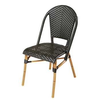 KAFE PRO - Black Woven Resin Professional Garden Chair (H88 x W47 x D60cm)