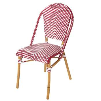 KAFE PRO - Professional Red and White Woven Resin Garden Chair (H89 x W47 x D57cm)
