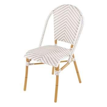 KAFE PRO - White/Beige Woven Resin Professional Garden Chair (H88 x W47 x D60cm)