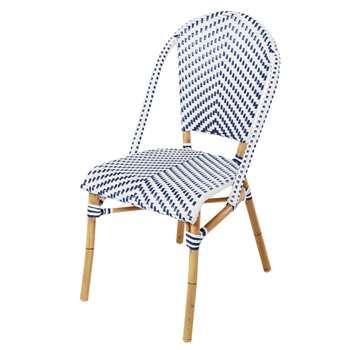 KAFE PRO - White/Blue Woven Resin Garden Chair (H88 x W47 x D60cm)