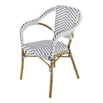 KAFE Wicker Garden Armchair in White/Blue (83 x 57cm)