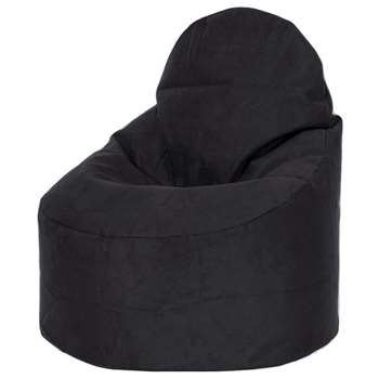 Kaikoo Faux Suede Large Slouch Chair, Black (H88 x W46 x D82cm)