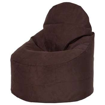 Kaikoo Faux Suede Large Slouch Chair, Chocolate (H88 x W46 x D82cm)
