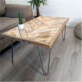 KALASABA Chevron Pattern Top Reclaimed Timber Coffee Table (H38 x W90 x D50cm)
