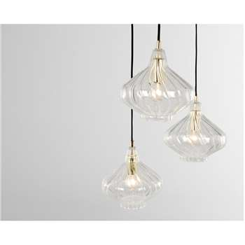 Kaleido Cluster Pendant Light, Clear Glass and Brass (H110 x W40 x D40cm)
