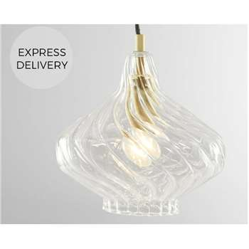 Kaleido Pendant Light, Clear Glass and Brass (H104 x W20 x D20cm)